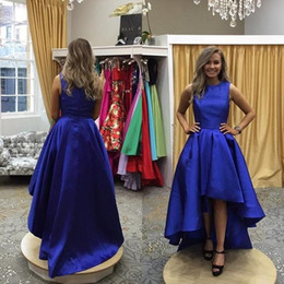 Wholesale Elegant Cheap Prom Dresses Made in China Jewel Neck A Line Royal Blue Satin High Low Hem Special Occasion Dresses