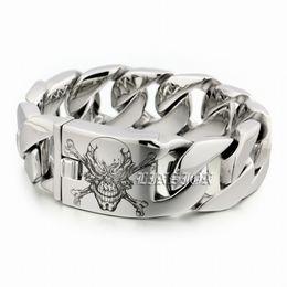 Discount heavy skull ring - LINSION 6 Lengths Deep Engraved Huge Heavy 316L Stainless Steel Pirate Skull Mens Biker Rock Punk Curb Link Bracelet 5D1