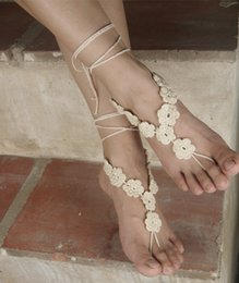 $enCountryForm.capitalKeyWord Australia - Crochet barefoot sandals Nude shoes Foot jewelry Beach wear Yoga shoes Bridal anklet bridal beach accessories lace sandals X007