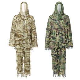 Full hunting camouFlage clothing online shopping - Outlife D Bionic Leaf Camouflage Suit Set for Hunting Birding Ghillie Clothing D Leaf Camo Invisible sets
