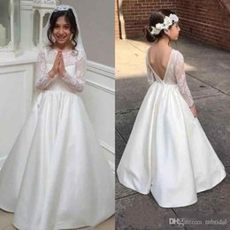 Shop stain flower girl dresses uk stain flower girl dresses free white long sleeve flower girl dresses for wedding gowns 2018 new backless lace stain ankle length a line kids pageant dress prom dresses mightylinksfo