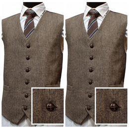 Chinese made prom dresses online shopping - 2019 Latest Farm Wedding Wool Tweed Vests Custom Made Groom Vests Slim Fit Mens Dress Suit Vest Prom Wedding Waistcoat Best Fitted Vests