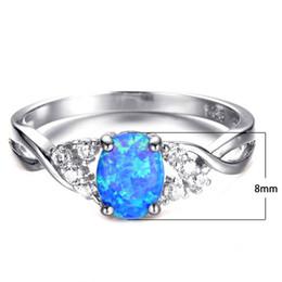 528bb492951f Mujer 14KT Anillo de dedo ovalado de oro blanco lleno Azul   Púrpura Anillo  de ópalo de fuego 925 Anillos de compromiso de boda de plata rellenos para  ...