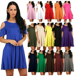 08f2301a390 Women's Cold Shoulder Tunic Top T-Shirt Swing Dress with Pockets 2018  Summer Casual Dresses Beach Dress Loose