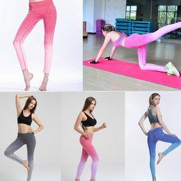 Black white yoga pants online shopping - dyed yoga legging skinny pants fitness suit high elastic body breathable dry pants Legging Tight Sportwear GGA480