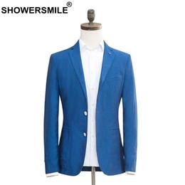 Plus Size Linen Suit Canada - SHOWERSMILE Linen Blazers Men Blue Suit Jacket Slim Fit Suit Male Smart Casual Plus Size Autumn Spring Brand Clothing Fashion