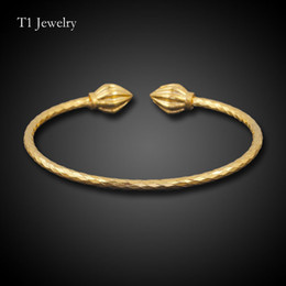 Copper Plated Steel Bangle Canada - thin 3mm round open Bangle For girls women wedding Korean 100% copper Jewelry golden Plated bracelets Bullet bangles Wholesale