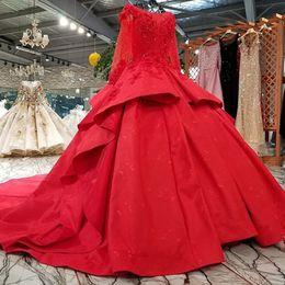 Petal skirt Pattern online shopping - 2019 Saudi Arabia Evening Dresses Red Color Long Sleeves Boat Neck Lace Up Back Puffy Skirt Engagement Dresses Vestidos De Fiesta Largos