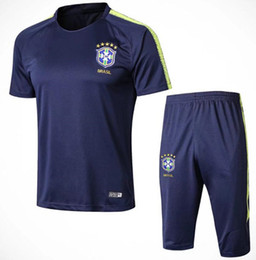 82fc66b254c 2018 brazil survetement soccer tracksuit 18 19 World Cup Brazilians NEYMAR  JR Maillot de foot short slevees 3 4 pants football shirt uniform