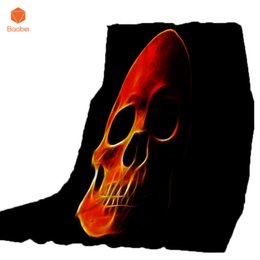 China Thicking Black Blanket For Bed Super Soft Skull Halloween Throw Blanket Art Beach Towel Throw Travel Machine Washable CB71 supplier fabric weaving machine suppliers