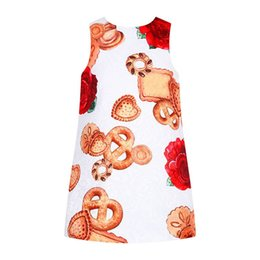 BaBy cookies online shopping - Floral Girls Dresses Cookies Print Baby Girl Dress A line Summer Costume for Kids Clothes Brand Princess Dress Children Clothing