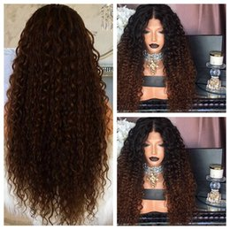 Ombre Auburn Wigs Black Women NZ - Ombre Brown Afro Kinky Curly Synthetic Lace Front Wig with Baby Hair Glueless Coloring Heat Resistant Hair Wigs for Black Woman