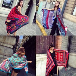 cotton ethnic scarf Canada - 2018 Summer Hot women beach sarongs shawls 180cm*100cm ethnic style long scarves for travel vacation cotton linen shawl