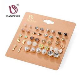 $enCountryForm.capitalKeyWord Australia - DANZE 20 Pairs lot Punk Fashion Stud Earrings Set For Women Elegant Mixed Crystal Flower Bow metal Ball Earings Jewelry 5 Styles
