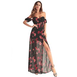 Pattern 2018 Spring Xia clothing Ladies Printing Sexy Irregular Vent  Chiffon Longuette Tube Top Dress casual dresses for women 2015 woman 64f76ae81