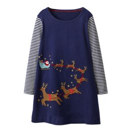 Chinese  Princess Dress Autumn Baby Girl Clothes Unicorn Party Jersey Cotton Kids Horse Long Sleeve Dresses Christmas Appliqued Robe Fille manufacturers