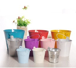 Discount tin buckets favors - Wedding Favors and Gifts Candy Box Metal Mini Tin Bucket Gift bags with Handles Wedding Decoration Event Party Supplies
