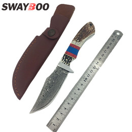 Browning Fixed Blades Canada - Swayboo High quality sharp Handmade Damascus steel hunting knife Deer horn Colour wooden handle tactical Straight knife with sheath