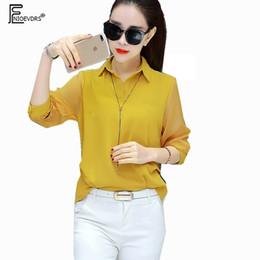 5cb6ab7708e 3 Colors Chiffon Blouses Shirts 2018 Women Fashion Yellow Black White  Design Tops Casual Lady Office Work Chiffon V Neck Blouse black chiffon  blouse designs ...