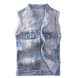 Fashion vest For men xxl online shopping - MORUANCLE Fashion Men s Ripped Denim Vests Washed Distressed Sleeveless Jeans Jacket For Man Destroyed Jean Waistcoat Size S XXL