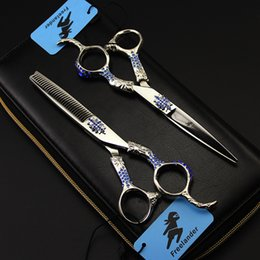 Diamond Scissors Australia - Professional 440C Stainless Steel Straight Thinning Hair Cut Scissor Personality Blue Diamond Handle Pet Grooming Shear Clipper