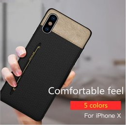 Hard Casing Card Holder Australia - New Luxury Fabric Skin Cell Phone Case Credit Card Slots Holder Silicone Hard PC Cases for iphone X 7 8 6 6S plus DHL
