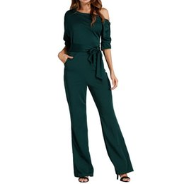 elegant black jumpsuits for women NZ - Jumpsuits Romper Women Overall Sexy One Shoulder Bodycon Tunic Jumpsuit For Party Elegant Wide Leg Pant Body Femme 2018