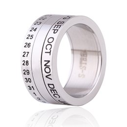 Discount indian carvings - Rotatable Stainless Steel Rhinestone Ring Creative Calendar Carved Ring For Women Fashion Glossy Silver Plated Jewelry A