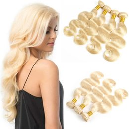 brazilian platinum blonde hair extensions 2019 - Top Selling Peruvian Blonde Human Hair Extensions Pure Color #613 Platinum Bleach Blonde Cheap Peruvian Body Wave Human