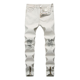 c88f6457c85 DecorateD jeans online shopping - Fashion White Jeans for Men High Street  Style Broken Denim Pants