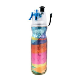 mist spray bottles UK - 590ml Drinking Spraying Bottle Outdoor Camping Gym Sports Double Layer Sip And Mist Spray Water Bottle For Summer Cooling
