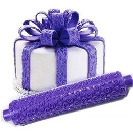 $enCountryForm.capitalKeyWord NZ - Purple rose flower shape Fondant Embossed Sugarcraft Rolling Pin for cake bread DIY Decorating Mold Gum Paste Tool