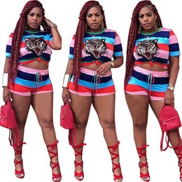 $enCountryForm.capitalKeyWord Canada - Tiger head Women Shorts t shirts Sports Suits striped Outfits animal Print Short Pants Tees Tops Tracksuit Two Piece Sets Trendy Sweatsuit