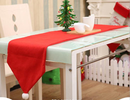 Discount flag tablecloth - Christmas Table Runner Mat Tablecloth Christmas Flag Home Party Decor Red Table Runners Tablecloths Party Decoration Tab