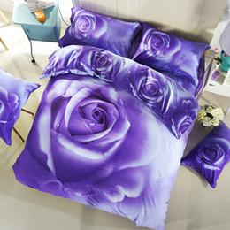 Bedsheet Cotton White Australia - PAPA&MIMA purple rose flowers bedding set 4pcs Queen size duvet cover set bedsheet quilt cover 3D cotton pillowcase