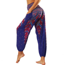 Yoga Pants Bloomers Fitness NZ - Women Yoga Pants Fitness Trouser Pocket Sport Bottom India Style 3D Printed Vintage Bloomers Belly Dance Travel Loose Sweatpants