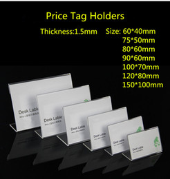 $enCountryForm.capitalKeyWord NZ - Clear 60x40mm L Shape Acrylic Table Sign Price Tag Label Display Paper Promotion Card Holder Stand 100pcs High Quality free shipping