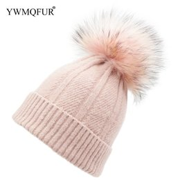 9688e6ccf516a4 Winter Women Hats New Style Knitted Wool With Colorful Real Fur Ball  Fashion Fur Pompom Beanies Female Warm Caps YWMQFUR 2018