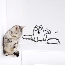 Chinese  wall sticker Funny Cartoon Cat vinyl Car laptop window tank wall sticker Bowl Cat Decal stickers Decals Wallpaper manufacturers