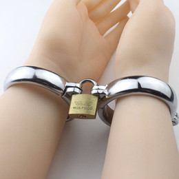 Metal ankle handcuff online shopping - Metal handcuffs bandage for female and male Stainless Steel Handcuffs Locked Him Her to Feel Bounded Fun Sexy Products