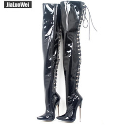 Discount sexy cosplay eva - Women Boots Sexy 18cm High Metal Thin Heels Pointed toe Cross tied Over Knee Thigh High Boots Dancing Party Boot Man cos