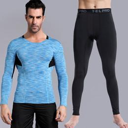 Mens Blue Shirt Black Pant Canada - Yuerlian Compression Quick Dry Running Set Demix Tracksuit Fitness Tights Long T-Shirt Sports Pants Gym Mens Sports Suits XXXL