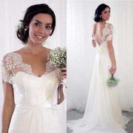 china gold sexy NZ - 2019 Lace Capped Short Sleeves Bridal Dresses China V Neck Sexy Backless Long Chiffon A Line Wedding Dresses
