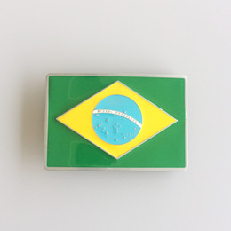 brazil flags NZ - Brazil Flag Enamel Belt Buckle Brand New In Stock Only Buckle No Stand BUCKLE-FG004 Free Shipping