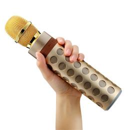 Discount microphone professional singing - 2018 Wireless Bluetooth speaker Karaoke Microphone Professional Player Speaker Aluminum subwoofer Party KTV Sing speaker
