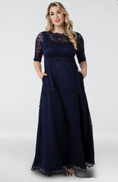 flooring designs NZ - Plus Size Navy Blue Lace Mother of the Bride Dresses 2019 New Design Floor Length A-Line Half Sleeve Vintage Wedding Guest Dresses M018