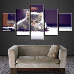 $enCountryForm.capitalKeyWord Australia - Canvas Painting Wall Art Home Decor HD Prints 5 Pieces Touche Pussy Cat Pictures Animal Poster Modular For Living Room Framework
