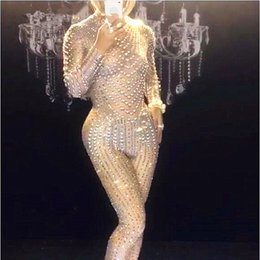 Glisten Pearls Sexy Nude Jumpsuit Rhinestones Stretch Fabrics Bodysuit  Nightclub Performance Prom Celebrate Outfit Stage Wear c609f723bfbf