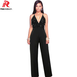 dd013977785 Sexy Sequins Jumpsuit Women Summer Black Spaghetti Strap V Neck Bandage  Backless Rompers Womens Jumpsuit Club Overalls 2017 N