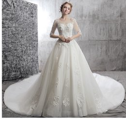 Chinese  Quality White Wedding Dresses Shoulder Sleeve Lace New Spring In The Trailing Three-Dimensional Applique Nail Bead Church Wedding Dresses manufacturers